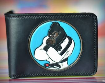 Primate Jiu Jitsu club logo mens leather wallet and hand tooled keychains. Made to order as a birthday gift for a great martial arts master
