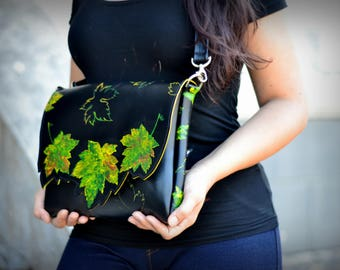 Leather shoulder bag,  crossbody bag for ladies. A painted clutch with autumn leaves. A unique black leather handbag with detachable strap