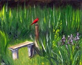 Cardinal Painting, The Visitor (Original Oil Painting), Small Painting