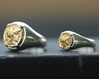 18K Gold Coin Ring | Brass Coin Ring | Ancient Greek Coin Ring | Signet Ring Women | Silver Coin Ring | Men Signet Ring | Couple Coin Rings