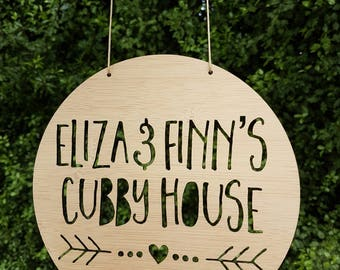 Personalised Wooden Cubby House Sign Heart and Arrow Design 19.5cm-treehouse-plaque-custom-lasercut-bamboo-kids gift
