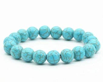 Turquoise stone beaded stretchy bracelet