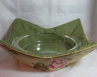 15 Inch (Large) Microwave Bowl Cozy/Holder. Floral Print and Green/White Polka Dot. Hostess or Housewarming Gift