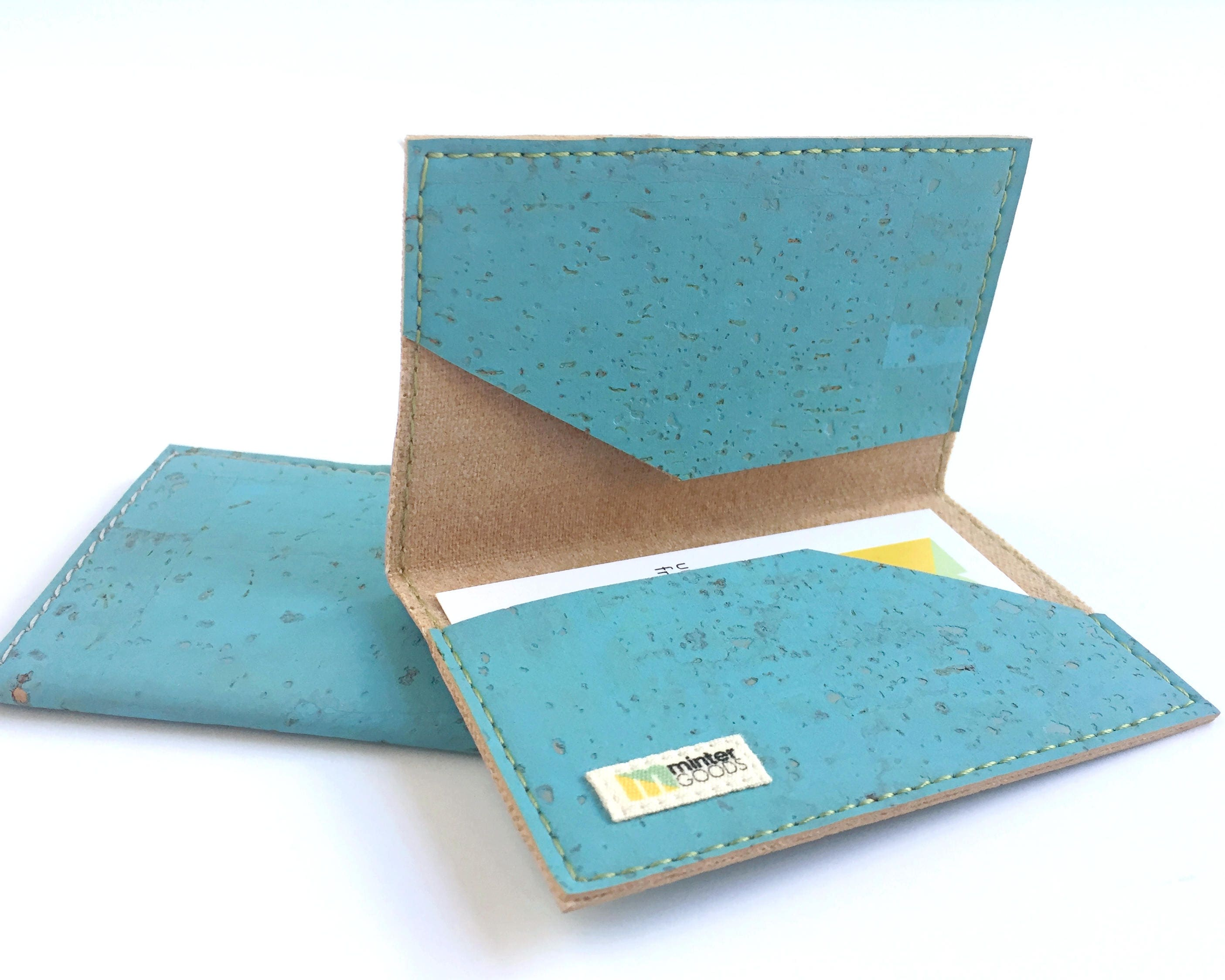 Cork business card case, sky blue cork fabric. Card case. Card ...