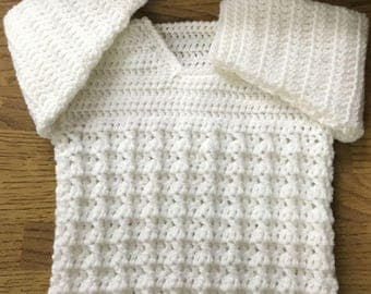 PDF Instant Download Cosy Cable Baby Crochet Sweater Pattern in DK. Sizes Birth to 6 Years. (1027)