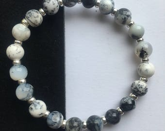Merlinite Stacking Posh Power Bracelet With Sterling Silver. Dendritic Agate. White And Grey Beads. New Stock! 22crystals
