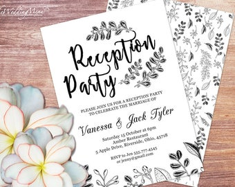 Reception Party Invitation Template Botanical Invitation Reception Dinner Wedding Printable Elopement Reception Party Invitation  006