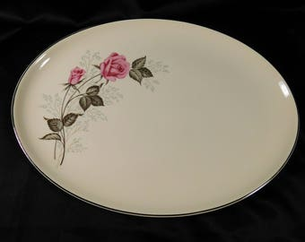 1950s Off White Serving Platter TST78 Taylor Smith VERSATILE Two Pink Roses Platinum Edge Blue Babies Breath Flowers Cream Large Meat Plate