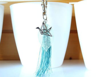 Bag charm leaf filigree and green pompon water origami bird keychain