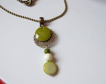 Necklace pendant rose filigree, Khaki green sequin and beads
