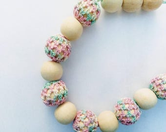 Nursing  necklace Pink nursing necklace Crocheted teething necklace Babywearing necklace Breastfeeding Wooden beaded Mother's day sale