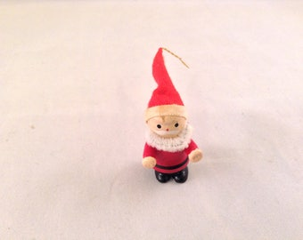 Vintage Santa Mid Century Wood Christmas Ornament