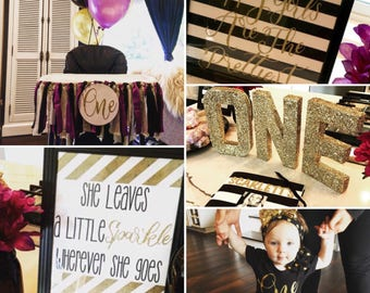 Black White & Gold Sparkle - Baby Girl Birthday Party Pack - Glitter / Tutu / Garland / Banner / Cupcake Toppers etc.