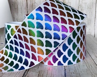 """NEW -----  3""""  Primary Mermaid Shells Hologram Foil Printed Grosgrain Cheer Bow Ribbon - Sold By 2, 3, and 5 Yards"""