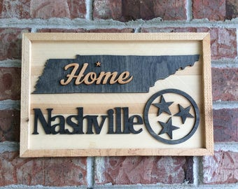 Nashville, Tennessee rustic 3D wall hanging, tri-star
