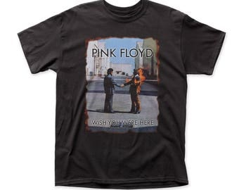 Pink Floyd Wish You Were Here (Burnt Edges) Men's Traditional Fit 18/1 Cotton Tee (PF15) Black