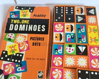 Vintage Picture dominoes, Codeg plastic two in one dominoes.