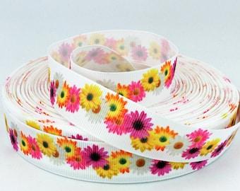 "Daisy Ribbon - Colorful Daisies - 7/8"" Grosgrain Ribbon"