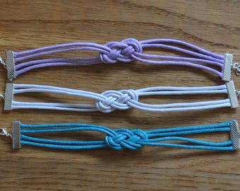 Pastel Handmade Macrame Knot Bracelet, Variety of Different Colours