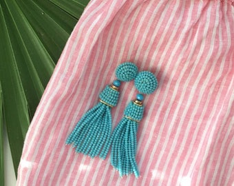 """The Coquina - 3.5"""" Turquoise Beaded Tassel Earrings by St. Armands Designs - Ships Immediately from Sunny Florida!"""