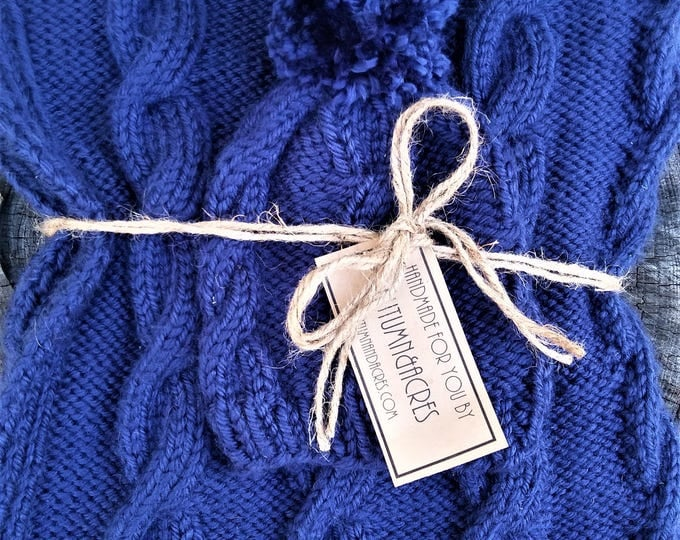 Navy Blue Knit Cable Twist Baby Blanket and Hat  Set (CHOOSE YOUR COLORS)