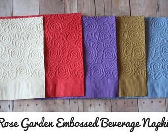 Rose Embossed Napkins/ Rose Garden Napkins/ Embossed Napkins/ Rose napkins/ wedding napkins/ bridal napkins/ napkins/ embossed/ party napkin