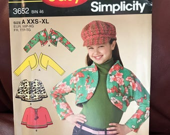 "Uncut Simplicity ""It's so Easy"" girls shurg, capelet, and capelet pattern size A (XXS-XL)"