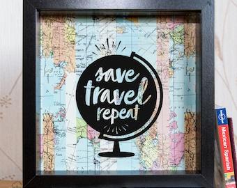 Travel Gift // Travel Fund // Money Box // Savings // Holiday Fund // Travel // Money Frame Box // Travelling // Money Box Frame // Map Gift