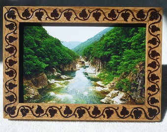 Wooden Photo Frame Vintage Style Wood Engraving Free Shipping Oak