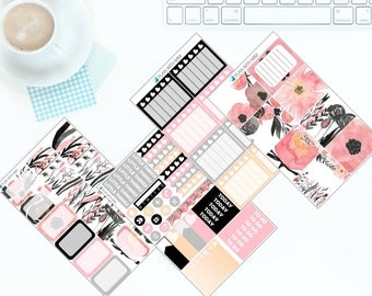 Black & Pink Flowers - Weekly Kit Stickers for Erin Condren Vertical LifePlanner