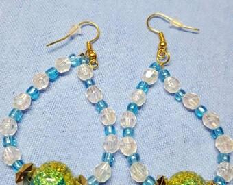 Blue & clear color dangle earrings