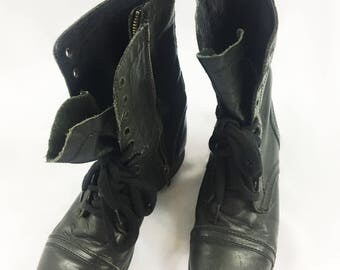 Black Distressed Leather Boots