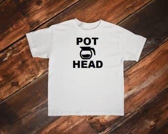 Pot Head Coffee t-shirt, pot head shirt, coffee shirt, coffee clothing, S, M, L, XL