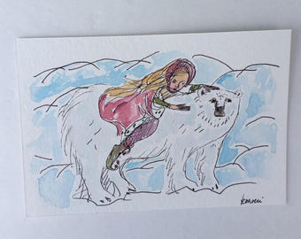 Original painting, polar bear painting, thenpolar bear king, east of the sun and west of thr moon, watercolor and ink, tiny art, original