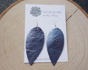 Blue Metallic Silver Teardrop Dangle Earrings