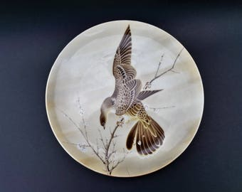 Vintage SAJI Collectors Plate ~ Bird on Cherry Blossom ~ Made in Japan