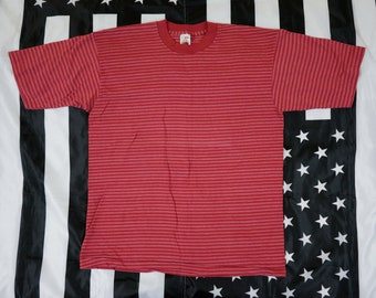 Vintage 90's Thin Striped T Shirt Size L Single Stitch Fruit Of The Loom Casual Wear Grunge