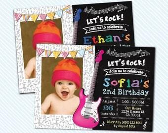 Digital Printable Rocks Invitation. Music Birthday Invite. music night
