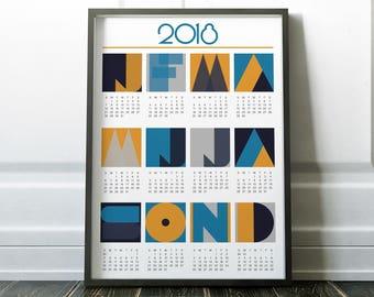 2018 Calendar, Wall Calendar, Calendar, 2018 Wall Calendar, 2018 Art Calendar, Wall Calendar 2018, Geometric Calendar, Handmade Calendar