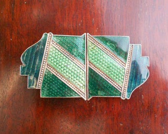 Art Deco Enamel Belt Buckle, Geometric Design, Vintage 1930s Original