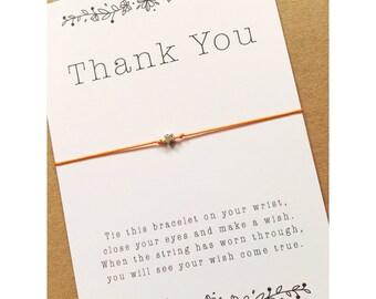 Wish Bracelet / Thank you / Star charm / thank you wish bracelet / make a wish /