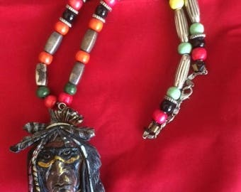 Native Indian Face Jewelry Necklace