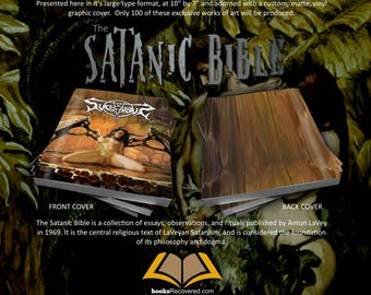 The Satanic Bible - Anton LaVey - Succubus Design by BooksRecovered FREE SHIPPING