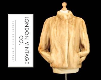 CLEARANCE: Vintage blonde mink real fur jacket /coat