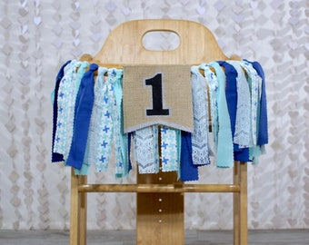 Birthday Highchair Banner Garland Bunting Blue First Birthday Cake Smash Party Photo Prop Backdrop Sea