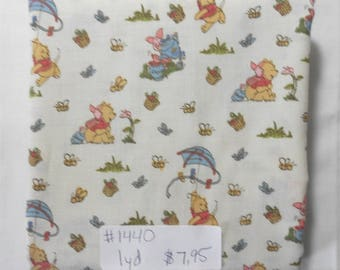 Fabric -1 yd piece-Mini/Tiny Winnie the Pooh/Pooh's Days in the Park/beige background (#1440) - piglet/hunny/kite/bee/tea/playing/fun/flower
