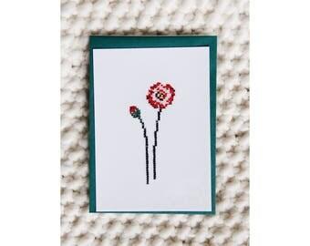 Reproduction postcard - Embroidered card hand - series Herbarium - poppy - cross stitch - June b Kitsch - JB K