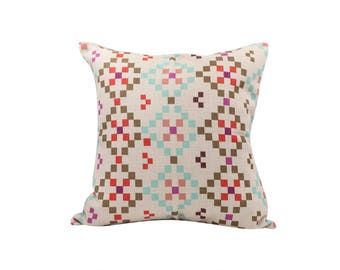 Geometric decorative pillow cover Ethnic throw pillow covers Linen pillow cases Rustic cushion cover Sofa accent pillows Home decor 18x18
