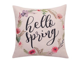 Watercolor flower throw pillow covers Floral pillow cover Spring wreath decorative pillow cases Quote cushion cover Sofa home decor 18x18