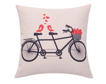 Flower bicycle throw pillow covers Floral basket decorative pillow case Love birds cushion cover Valentines day cushion case Home gift 18x18
